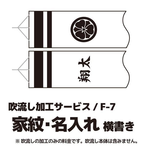 【こいのぼり・家紋入れ・名前入れ】 家紋+名入れ 横書き F-7