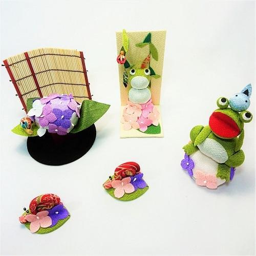 置物 コンパクト ちりめん 小さい 手作り / 初夏の訪れ / 梅雨 かえる 紫陽花 人形 飾りミニ 可愛い人気 maruzen-kyoto 12
