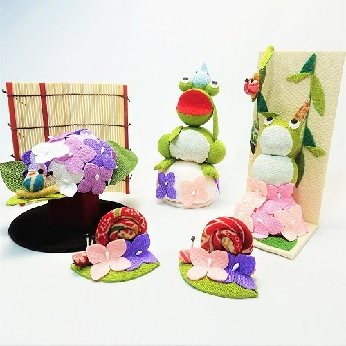 置物 コンパクト ちりめん 小さい 手作り / 初夏の訪れ / 梅雨 かえる 紫陽花 人形 飾りミニ 可愛い人気 maruzen-kyoto 13