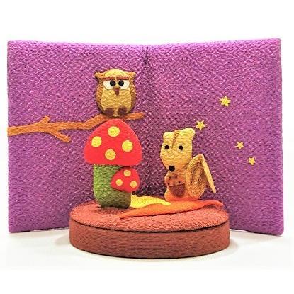置物 コンパクト ちりめん 小さい 送料無料激安祭 手作り 季節模様 屏風 人形 メーカー直売 飾りミニ 可愛い人気 森の中のリス