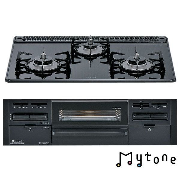ガスコンロ ビルトインコンロ ガラストップ60cm リンナイ Mytone RS31W8B11R-B ブラックガラストップ