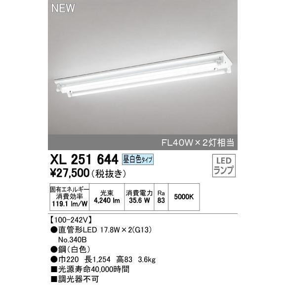 オーデリック 店舗施設用 ベースライト 【XL 251 644】XL251644