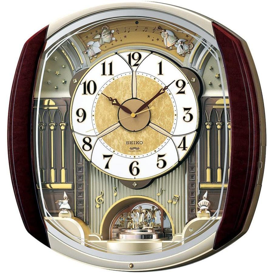 セイコー クロック 掛け時計 電波 アナログ からくり 6曲 メロディ 回転飾り 濃茶 マーブル 模様 RE564H SEIKO