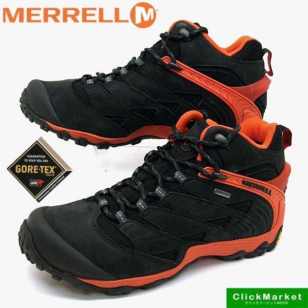 メレル MERRELL CHAMELEON 7 MID GORE-TEX J98281 カメレオン 7 ミッド ゴアテックス 防水 黒橙 メンズ