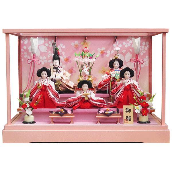 雛人形 ケース飾り コンパクト 五人飾り ピンク塗りケース おしゃれな ひな人形