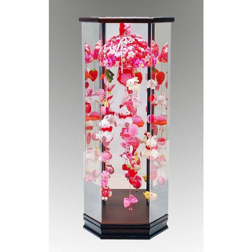 六角ケース吊るし飾り桜うさぎ 小 花梨塗アクリルケース