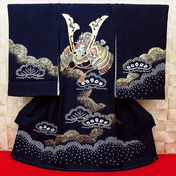【兜・吉祥松・濃紺】男児 初着 祝着 のしめ 産着 男の子のお宮参り着物・高級フードセットプレゼント付