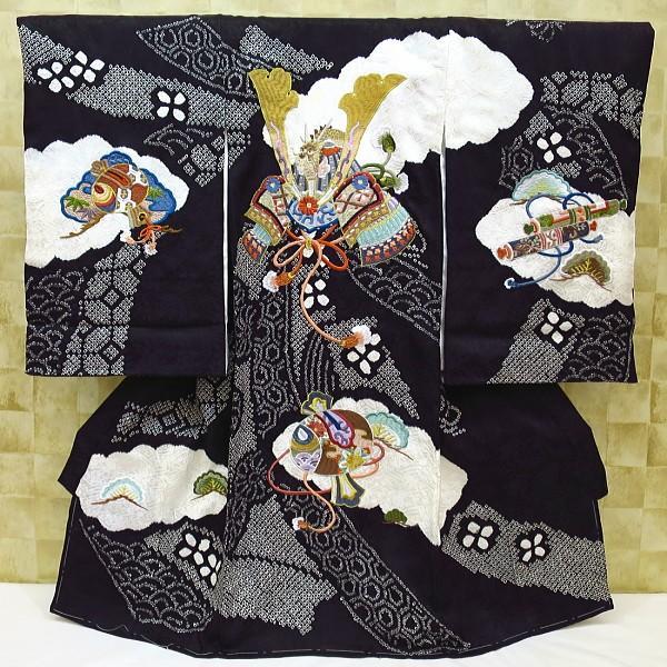【金通し・鷹・松・黒・紫ぼかし】男児 初着 祝着 のしめ 産着 男の子のお宮参り着物・高級フードセットプレゼント付