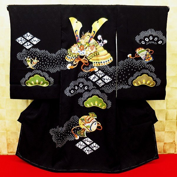 【道長絞りに兜・本絞り・黒】男児 初着 祝着 のしめ 産着 男の子のお宮参り着物・高級フードセットプレゼント付