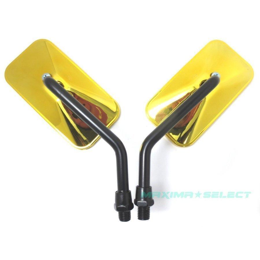 バイクミラー メッキミラー 左右セット 凸面鏡 汎用 10mm M10 カワサキ ホンダ スズキ バイク ミラー 鏡 オートバイ スクエア サイドミラー カスタム用品 maximaselect 11