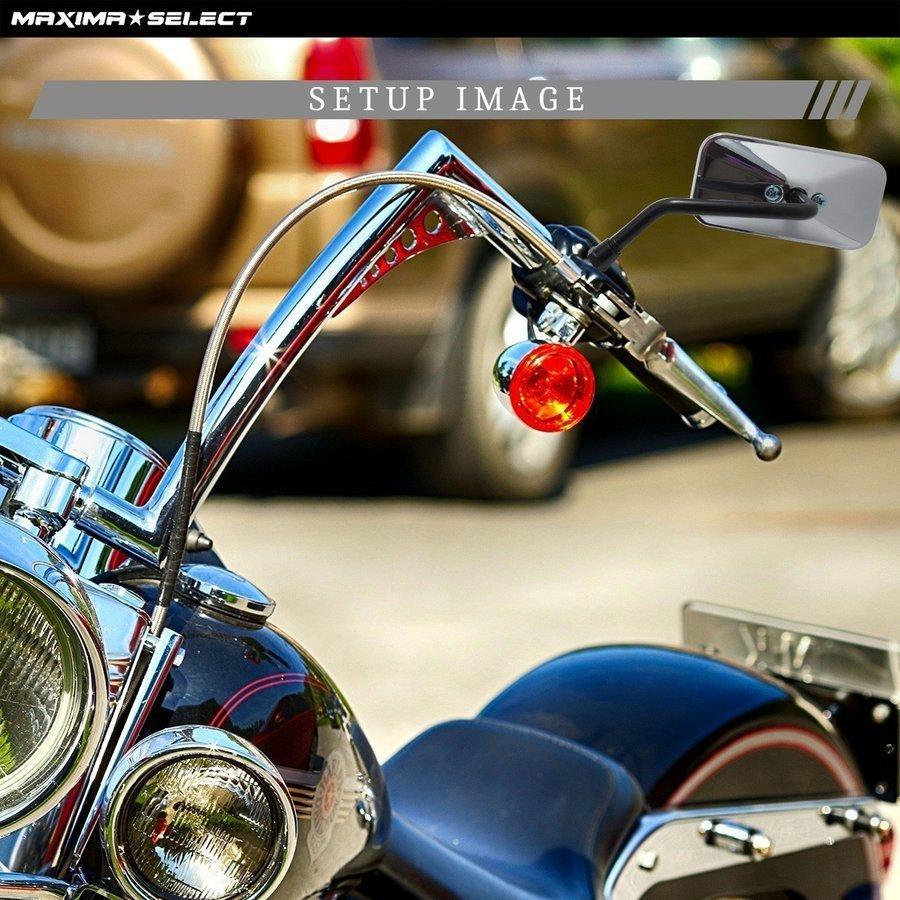 バイクミラー メッキミラー 左右セット 凸面鏡 汎用 10mm M10 カワサキ ホンダ スズキ バイク ミラー 鏡 オートバイ スクエア サイドミラー カスタム用品 maximaselect 06