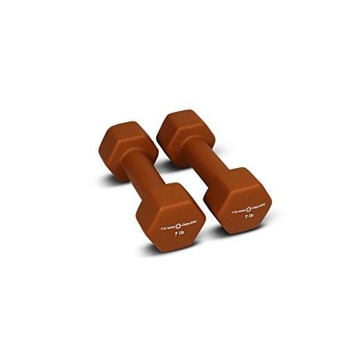 超熱 Fitness Republicネオプレンコーティングダンベルセット(6角形ハンドウェイト ) 07 lbs - Brown ブラウン, ビッツ&ボブ a4de3247