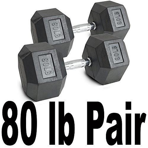 贅沢屋の ペア80 Fitness*lbブラックラバーコーティング六角ダンベル重量トレーニングセット160*lb Fitness, スキップハウス:12386b37 --- airmodconsu.dominiotemporario.com