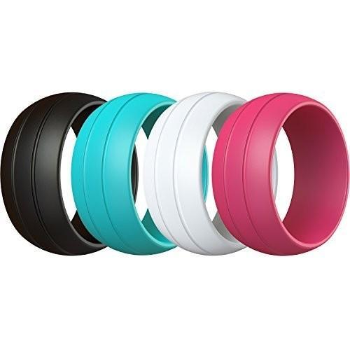 高価値 シリコンリング4*-パックforレディース| Slimfitシリコンウェディングリング、ブラック、ピンク、ティールと白, cofa jewelry f6320d9f