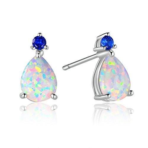 大人女性の gemsme 7*x gemsme 9 7*x*mmティアドロップ作成オパールスタッドイヤリングサファイアジュエリーギフト, First Pure:3d97232a --- airmodconsu.dominiotemporario.com