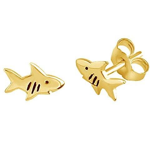 クラシック Sharkスタッドイヤリング14*K Gold Gold overスターリングシルバー, 開運HAPPY雑貨のお店 BIGTOWER:c339ee5f --- airmodconsu.dominiotemporario.com