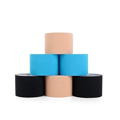 Superbeキネシオロジーテープ(6ロールパック)、アスレチックスポーツ、痛み止め、回復と理学療法療法のKinesioテープ、2インチx