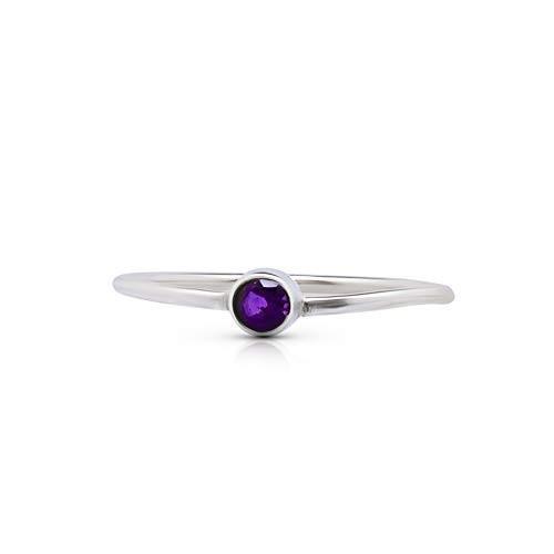 有名なブランド Koral Jewelry ラウンドアメジスト 繊細なリング 925スターリングシルバー ビンテージ ボヘミアン シック, LALONA b9139dfe