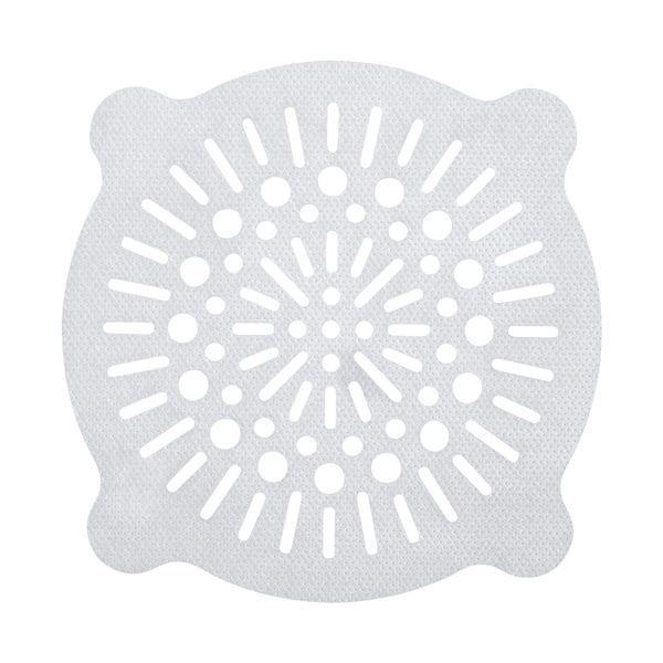 浴室 排水口フィルター/風呂掃除 〔丸大 10枚入〕 貼ってヘアーストッパー ホワイト レック 〔240個セット〕
