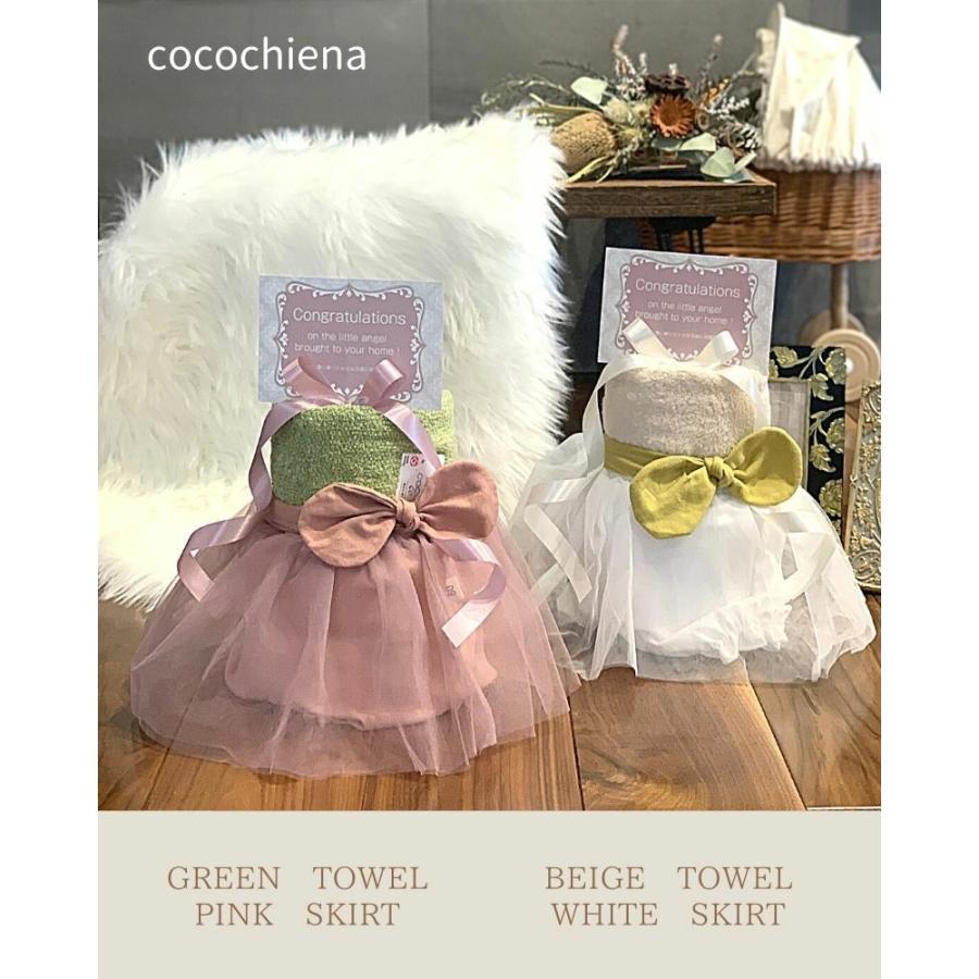 出産祝い おむつケーキ 2段 ドレス 女の子 ドットヘアバンド ハーフバースデー  ドレス 可愛い 女の子 おむつケーキ mebon-hiding 02