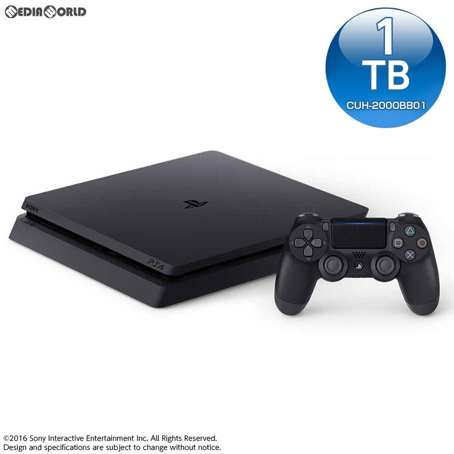 『中古即納』{本体}{PS4}プレイステーション4 PlayStation4 ジェット・ブラック 1TB(HDMIケーブル交換品)(CUH-2000BB01)(20160915)