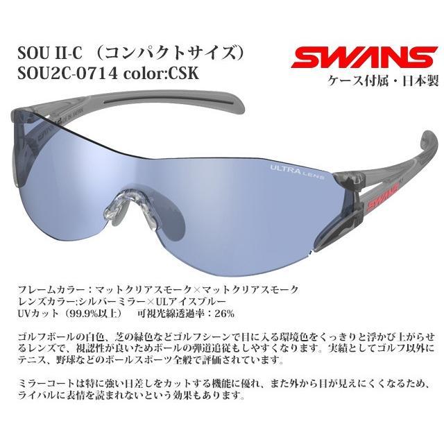 スポーツサングラス スワンズ SWANS SOU-II-C SOU2C-0714 SCK コンパクトサイズ