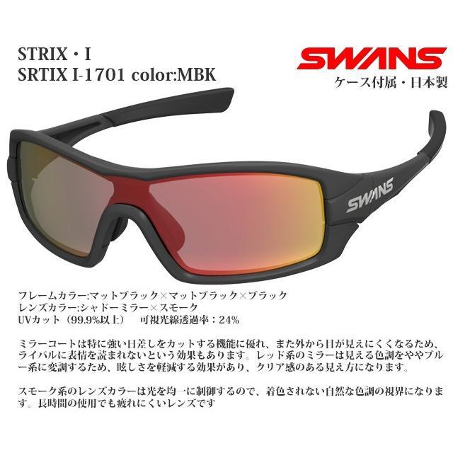 スポーツサングラス スワンズ SWANS STRIX I-1701 MBK
