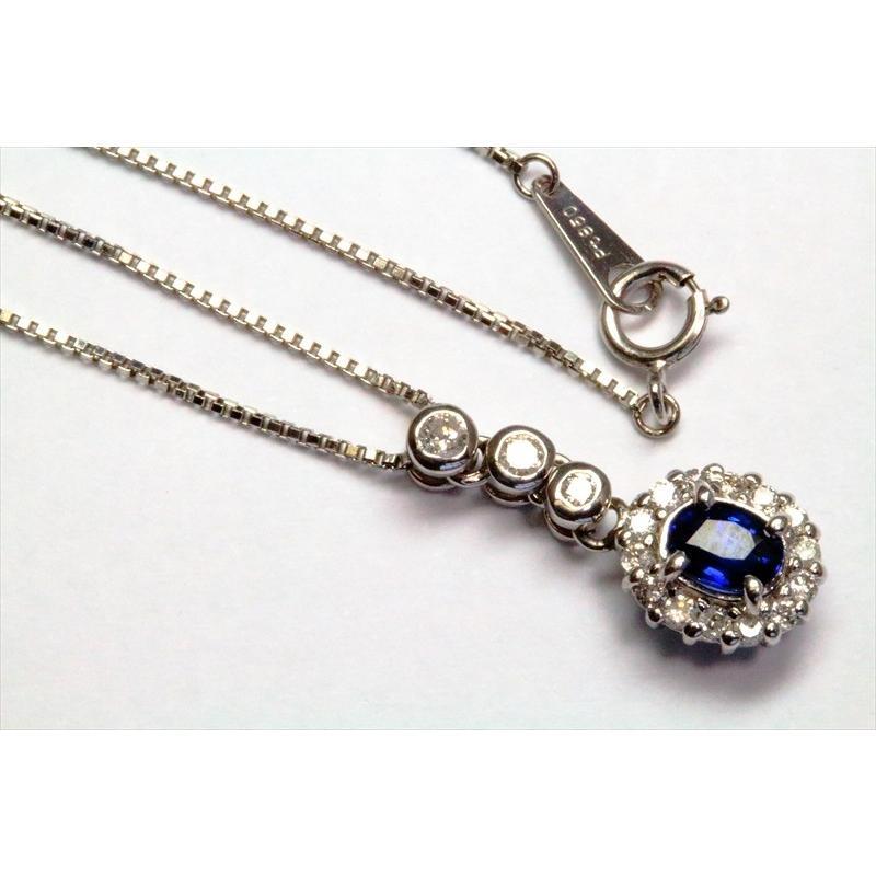 天然 ブルーサファイア  ダイヤモンド ペンダント PT900/ PT850 新品 レディース megumi-1 02
