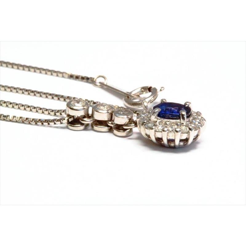 天然 ブルーサファイア  ダイヤモンド ペンダント PT900/ PT850 新品 レディース megumi-1 04