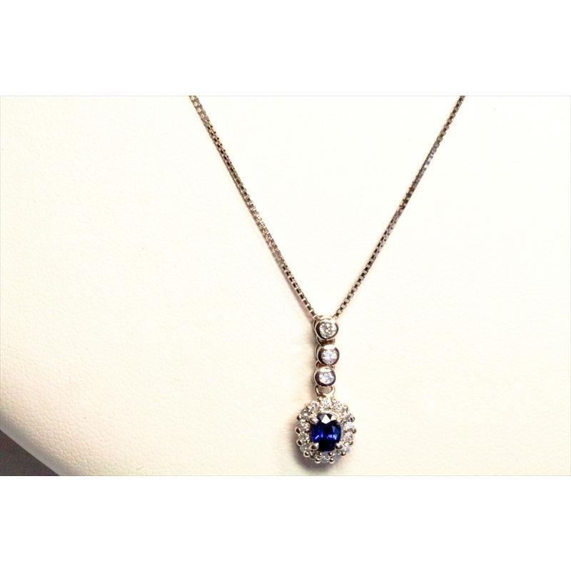 天然 ブルーサファイア  ダイヤモンド ペンダント PT900/ PT850 新品 レディース megumi-1 06