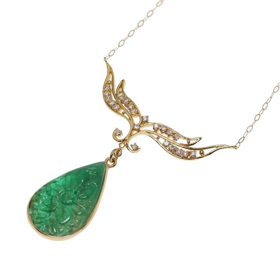 天然 エメラルド フラワーカーヴィング(彫刻)ダイヤモンド ネックレス  K18 新品 レディース|megumi-1