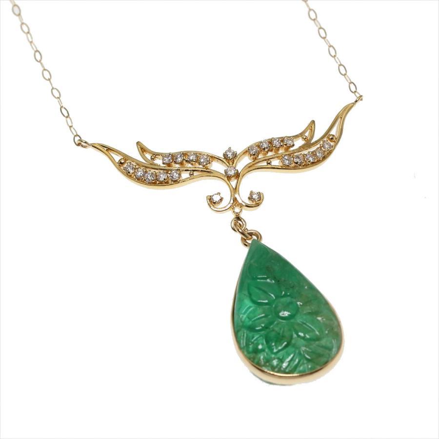 天然 エメラルド フラワーカーヴィング(彫刻)ダイヤモンド ネックレス  K18 新品 レディース|megumi-1|02