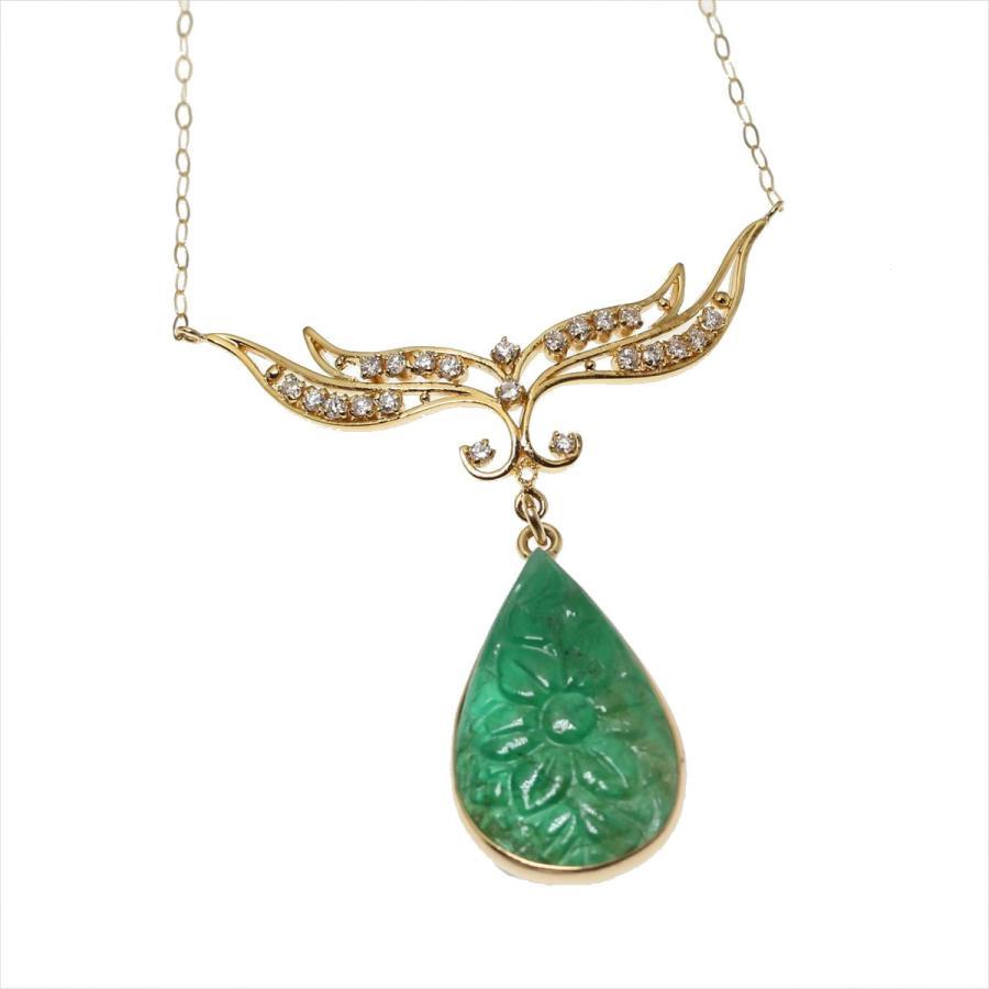 天然 エメラルド フラワーカーヴィング(彫刻)ダイヤモンド ネックレス  K18 新品 レディース|megumi-1|04