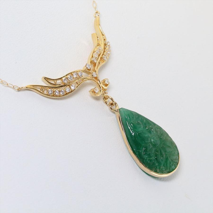 天然 エメラルド フラワーカーヴィング(彫刻)ダイヤモンド ネックレス  K18 新品 レディース|megumi-1|06