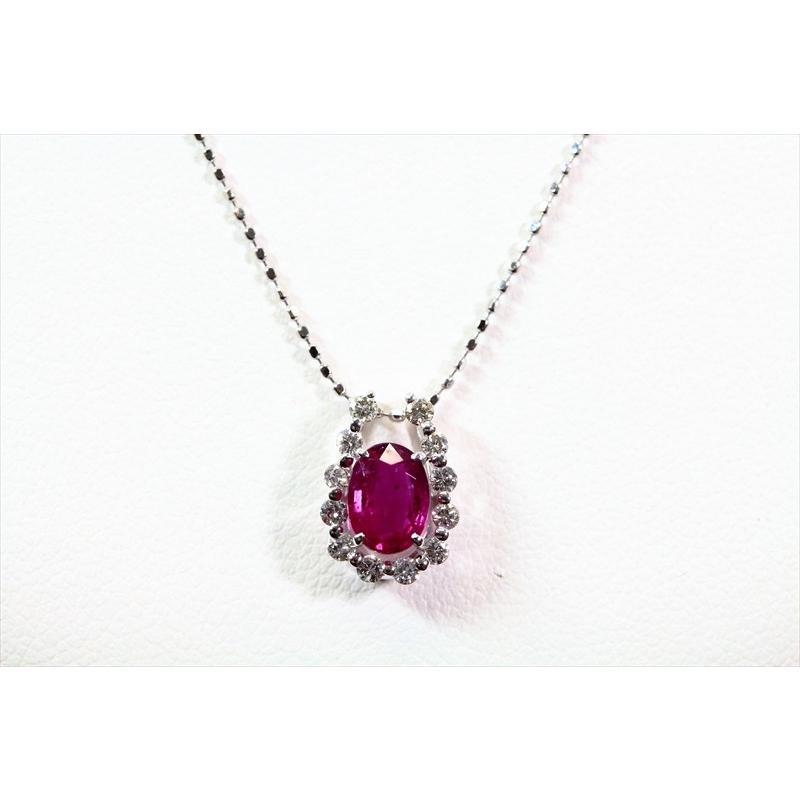 天然 ルビー ダイヤモンド ペンダント ネックレス K18WG 新品 レディース|megumi-1|02