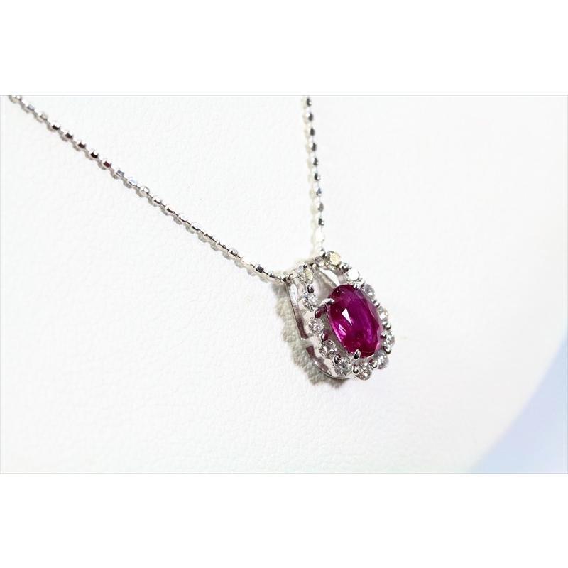天然 ルビー ダイヤモンド ペンダント ネックレス K18WG 新品 レディース|megumi-1|05