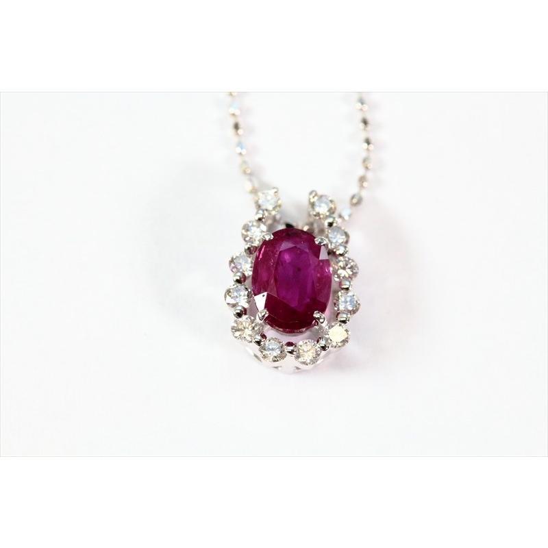 天然 ルビー ダイヤモンド ペンダント ネックレス K18WG 新品 レディース|megumi-1|06