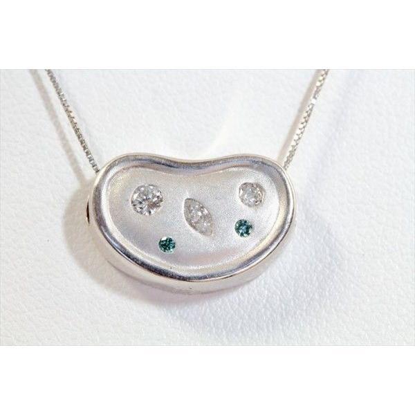 ホワイトダイヤモンド ブルーダイヤモンド ペンダントネックレス PT900/K18WG 新品 レディース megumi-1