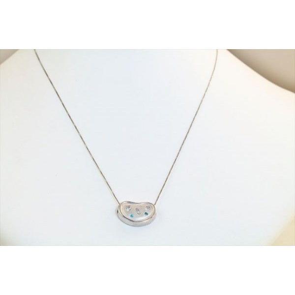 ホワイトダイヤモンド ブルーダイヤモンド ペンダントネックレス PT900/K18WG 新品 レディース megumi-1 02