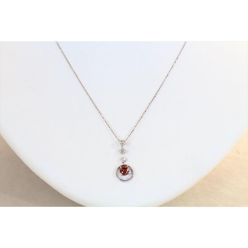 天然 ファンシーブラウン ダイヤモンド ネックレス K18WG 新品 レディース megumi-1