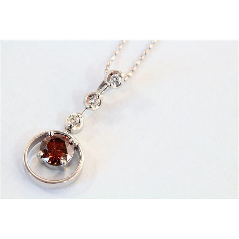 天然 ファンシーブラウン ダイヤモンド ネックレス K18WG 新品 レディース megumi-1 05