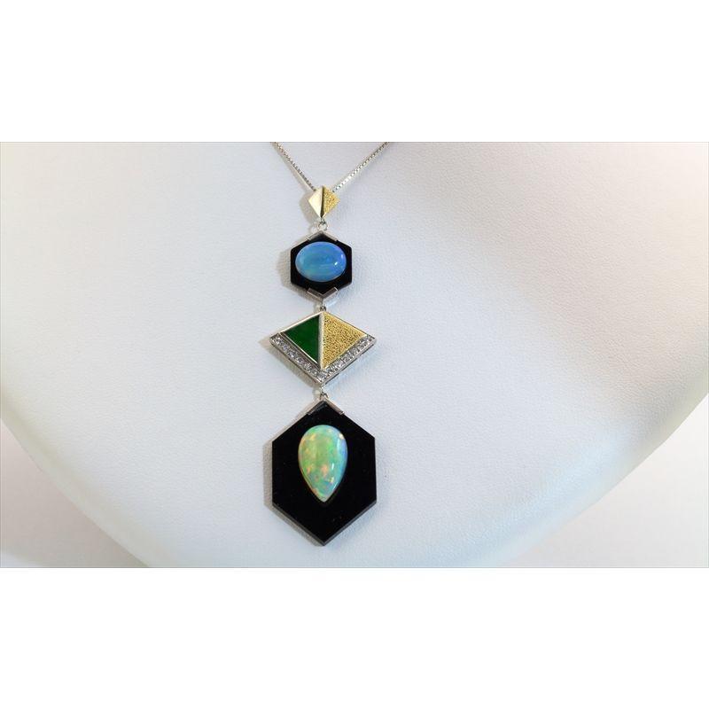 オパール オニキス 翡翠 ダイヤモンド ネックレス PT850/K18 新品 レディース|megumi-1