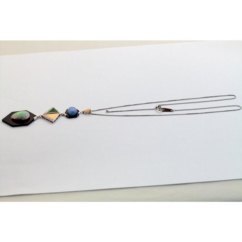 オパール オニキス 翡翠 ダイヤモンド ネックレス PT850/K18 新品 レディース|megumi-1|03