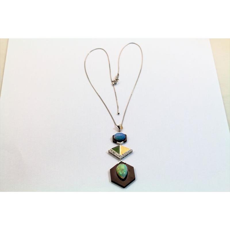 オパール オニキス 翡翠 ダイヤモンド ネックレス PT850/K18 新品 レディース|megumi-1|05