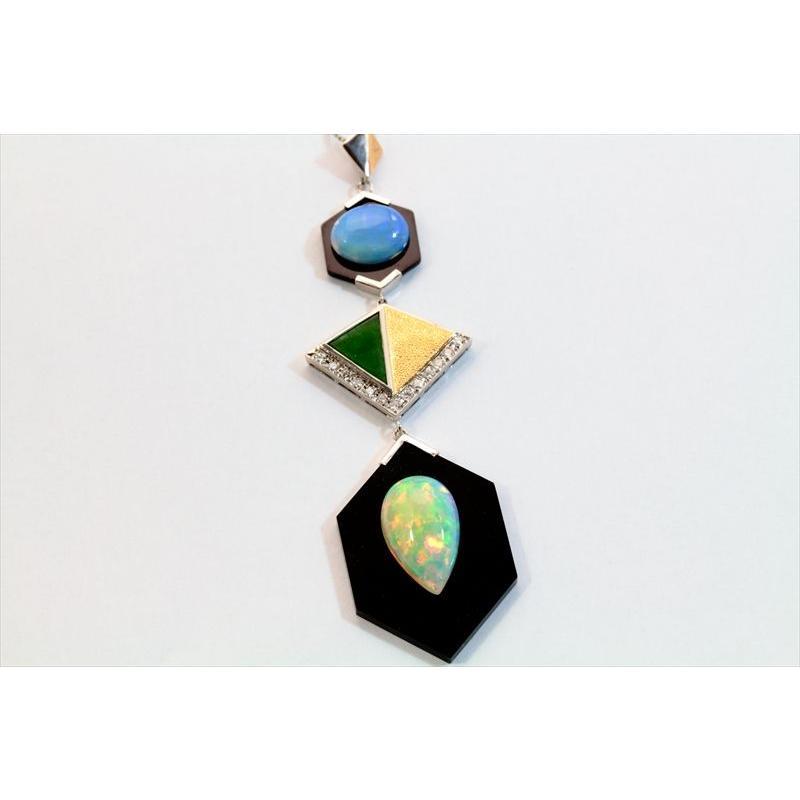 オパール オニキス 翡翠 ダイヤモンド ネックレス PT850/K18 新品 レディース|megumi-1|06