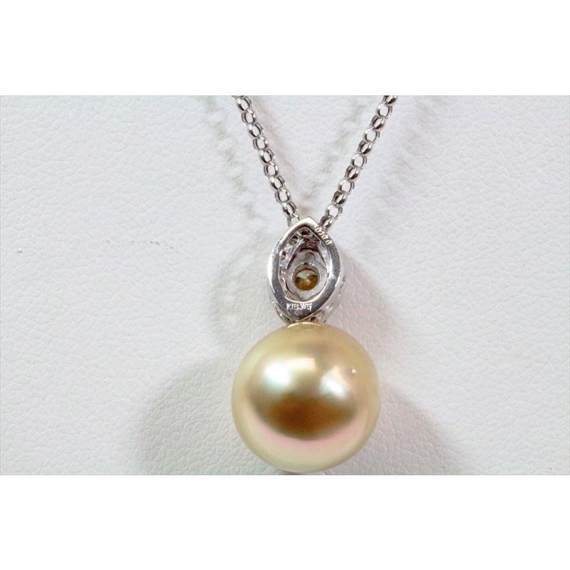 南洋 ゴールドパール カラーダイヤモンド ペンダント K18WG 新品 レディース megumi-1 04
