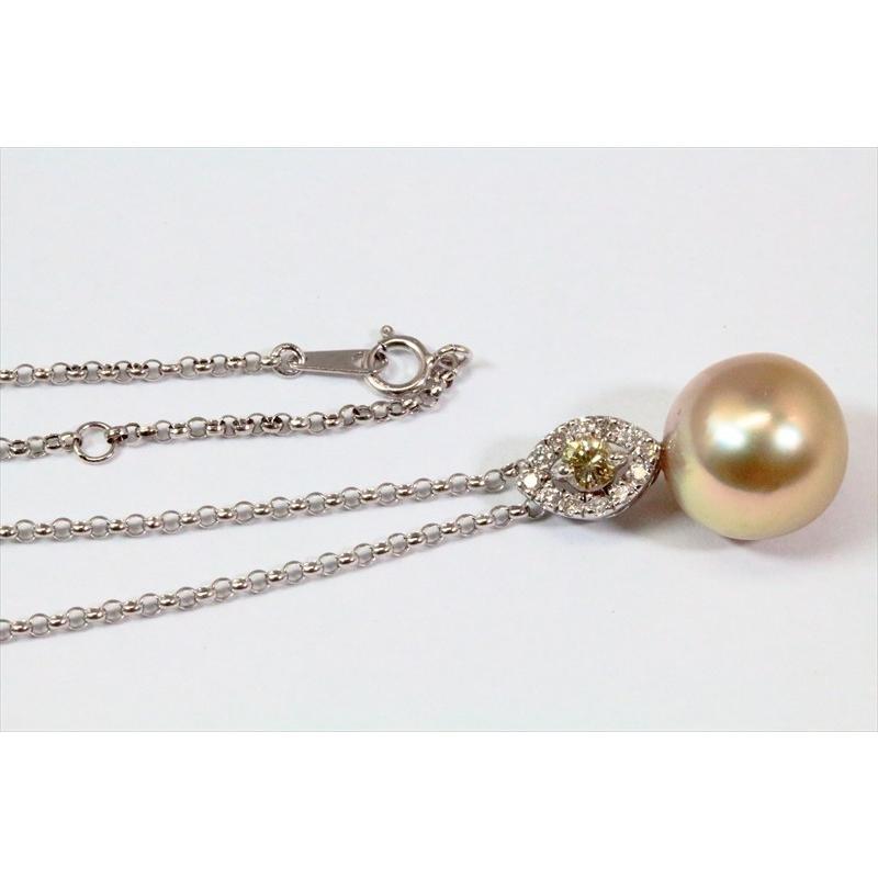 南洋 ゴールドパール カラーダイヤモンド ペンダント K18WG 新品 レディース megumi-1 05