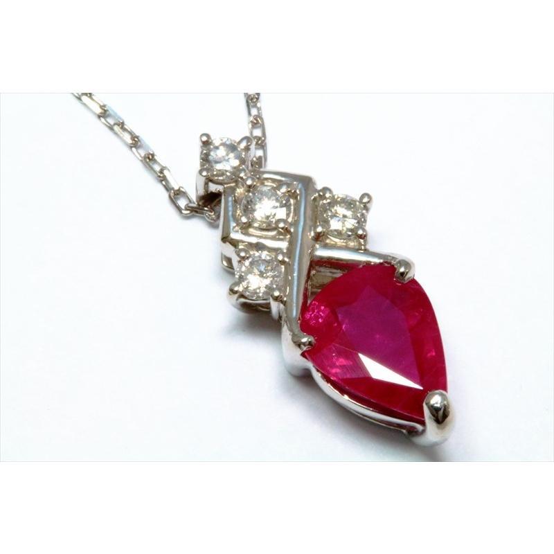 天然 ルビー ダイヤモンド ペンダント ネックレス pt900/pt850 新品 レディース|megumi-1