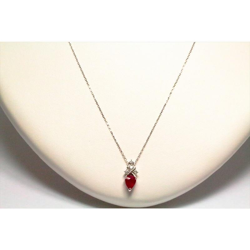 天然 ルビー ダイヤモンド ペンダント ネックレス pt900/pt850 新品 レディース|megumi-1|02