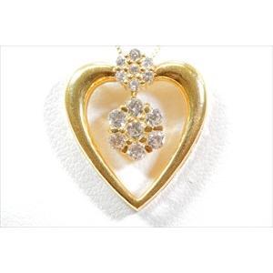 ダイヤモンド ペンダント K18 新品 レディース ハート|megumi-1